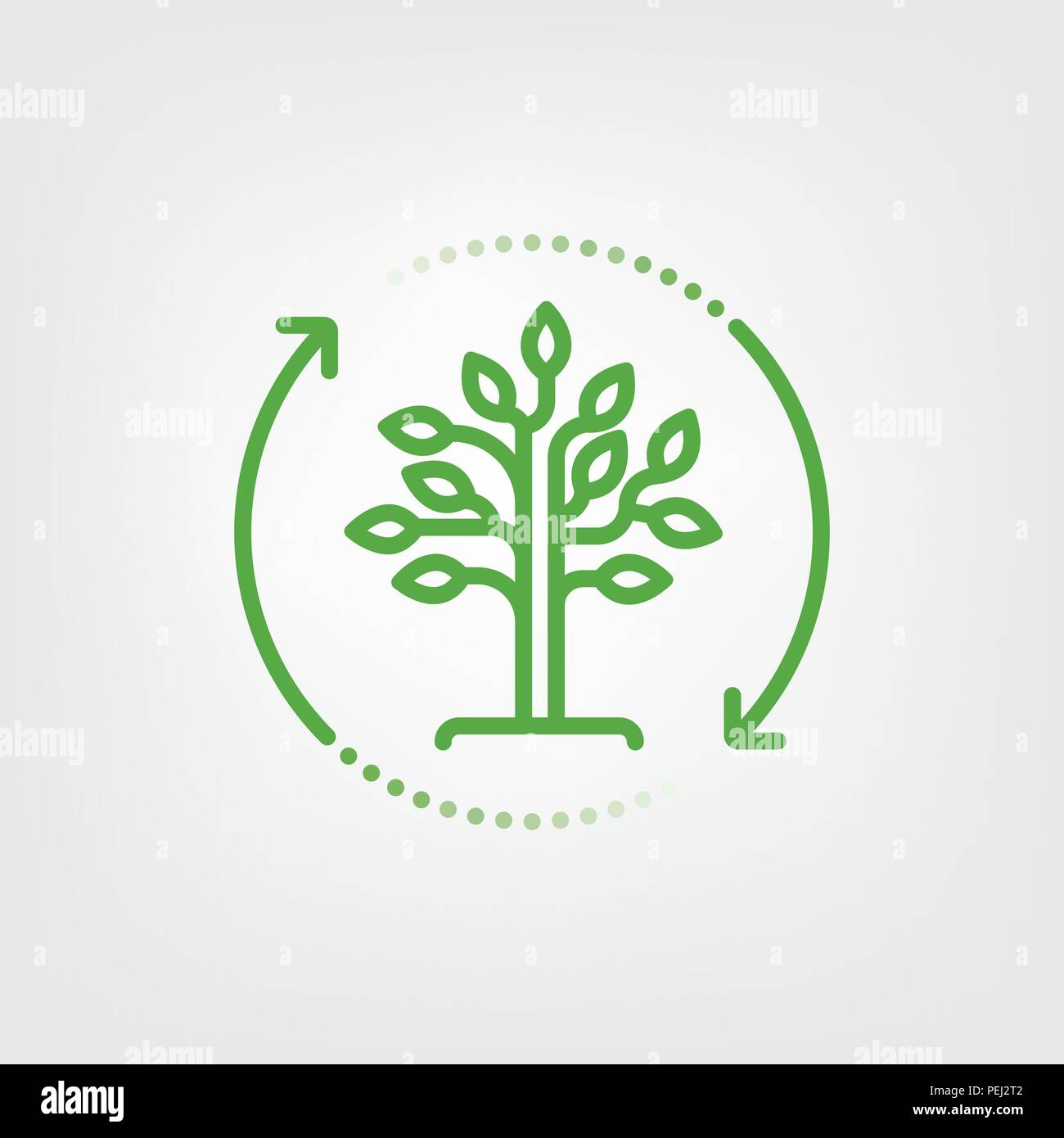 Arrows surrounding tree. Reforestation symbol. Vector line icon. - Stock Vector