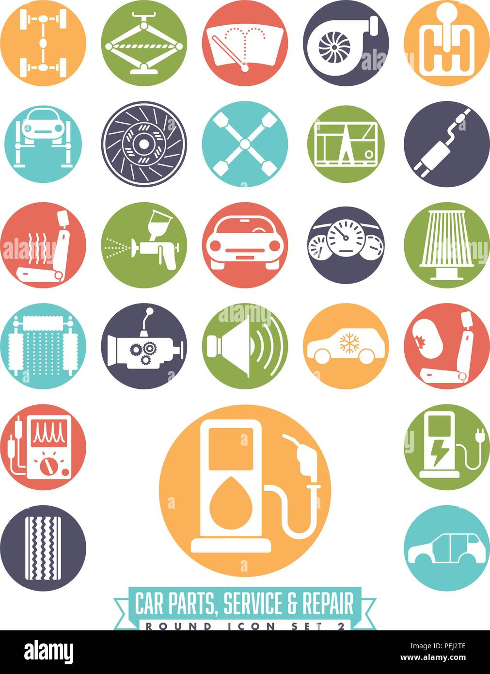 Collection Of Car Parts Service And Repair Icons In Colored Circles