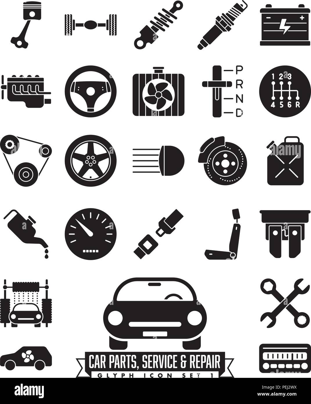 Collection Of Isolated Car Parts Service And Repair Glyph Icons