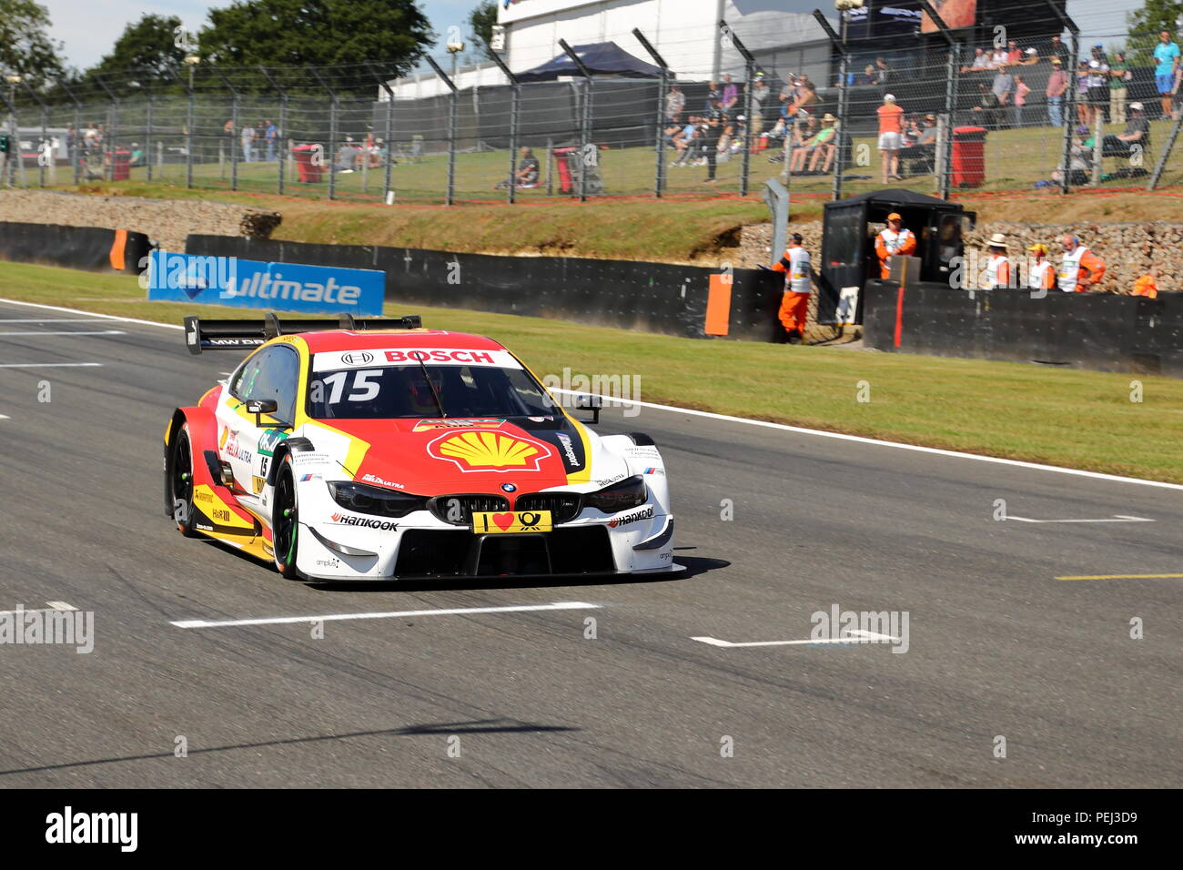 Augusto Farfus in his BMW at the DTM Race 2018 at Brands Hatch Circuit, UK - Stock Image