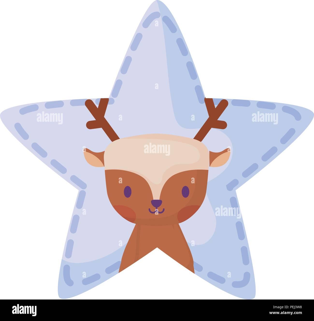 cute deer in star shape over white background, vector illustration - Stock Image