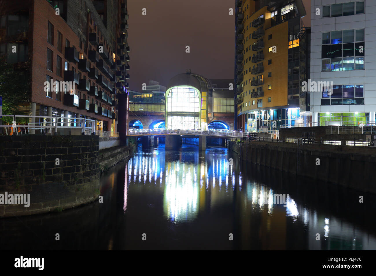 The newly built South Entrance to Leeds Station at night. Stock Photo
