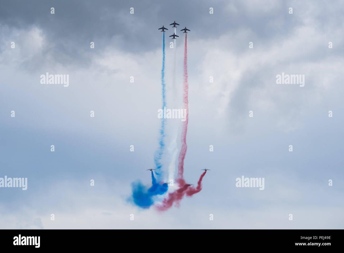 Patrouille de France aerobatic flight display in Le Castellet, France - Stock Image