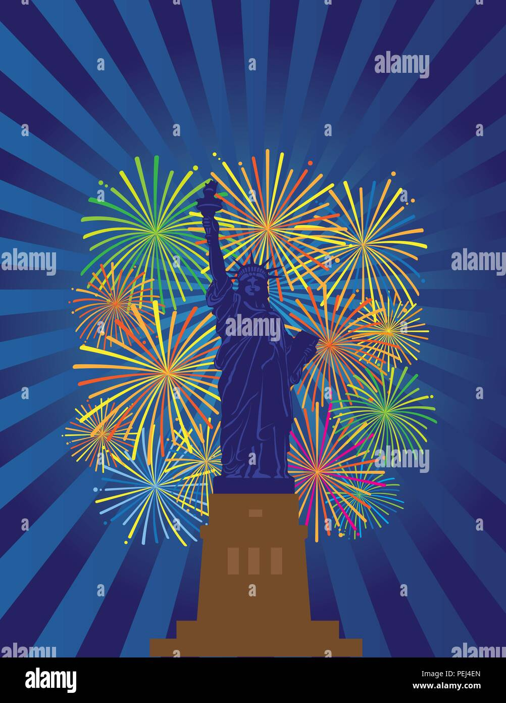 Statue of Liberty on Staten Island in New York City Fireworks Night Illustration - Stock Vector