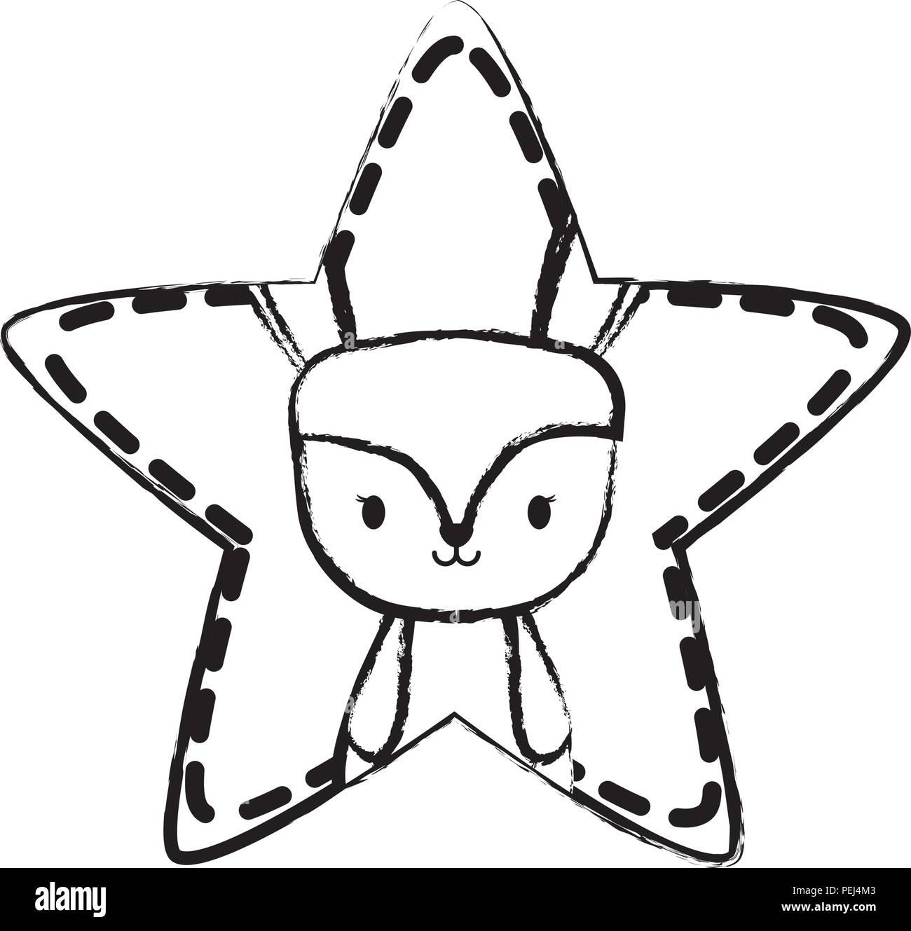 cute rabbit in star shape over white background, vector illustration - Stock Image