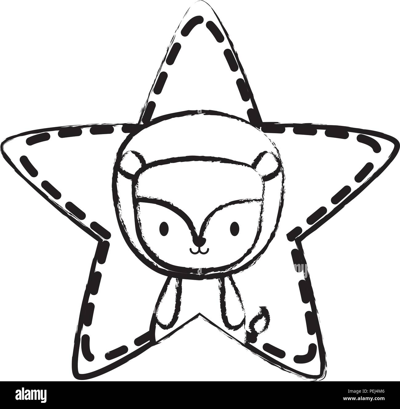 cute lion in star shape over white background, vector illustration - Stock Image