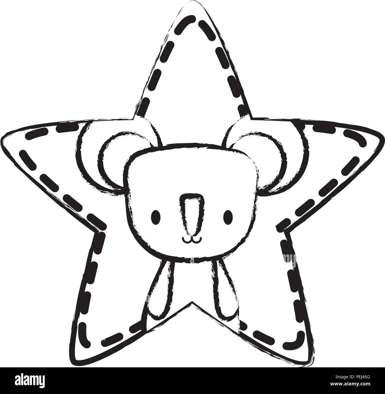 cute koala in star shape over white background, vector illustration - Stock Image