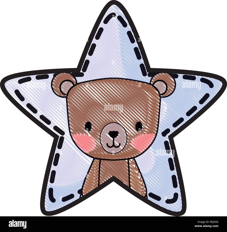 cute bear in star shape over white background, vector illustration - Stock Image