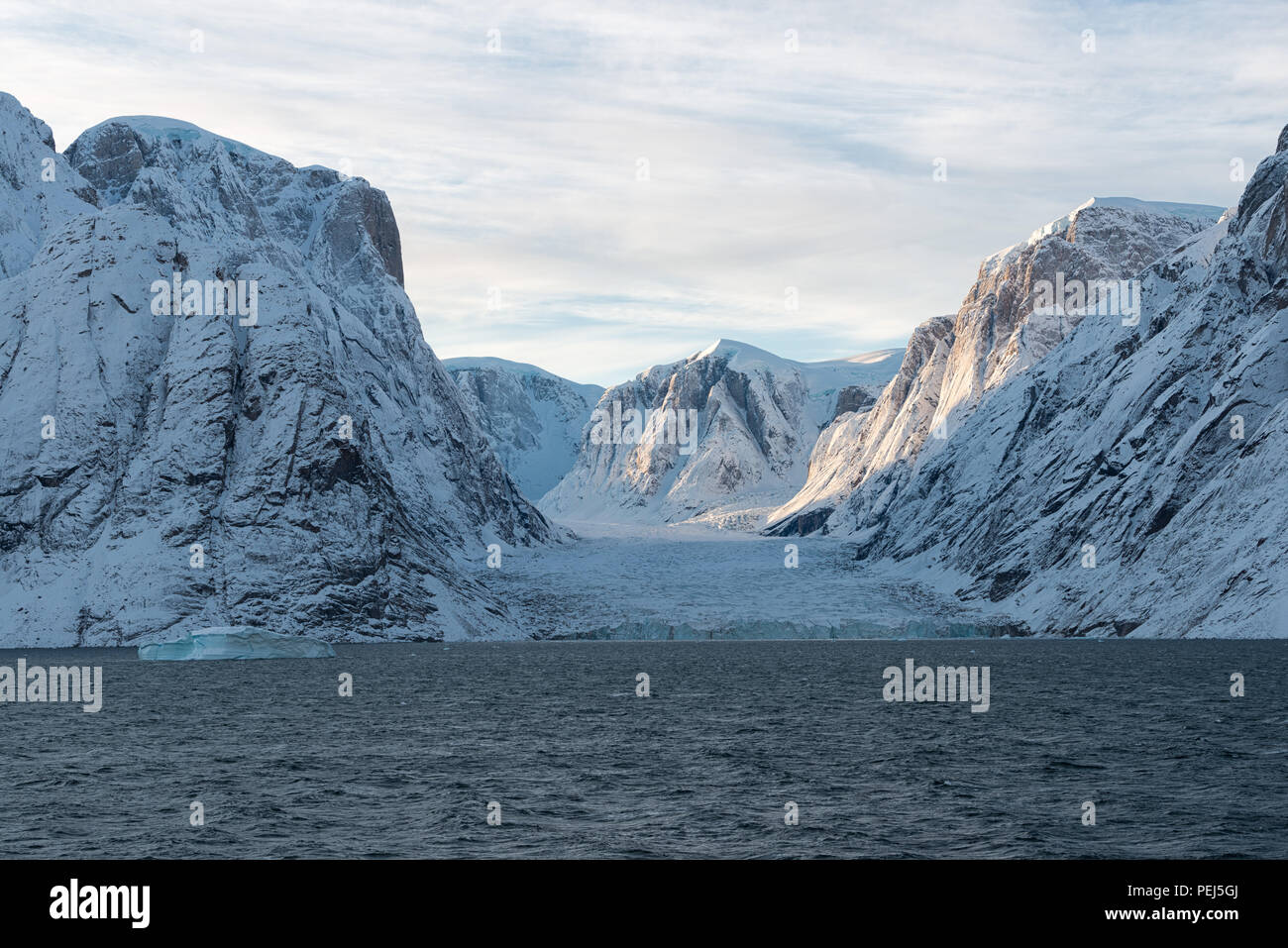Autumn in the arctic landscape. Øfjord, which is part of Scoresby Sund, Kangertittivaq, Greenland, 2017 - Stock Image