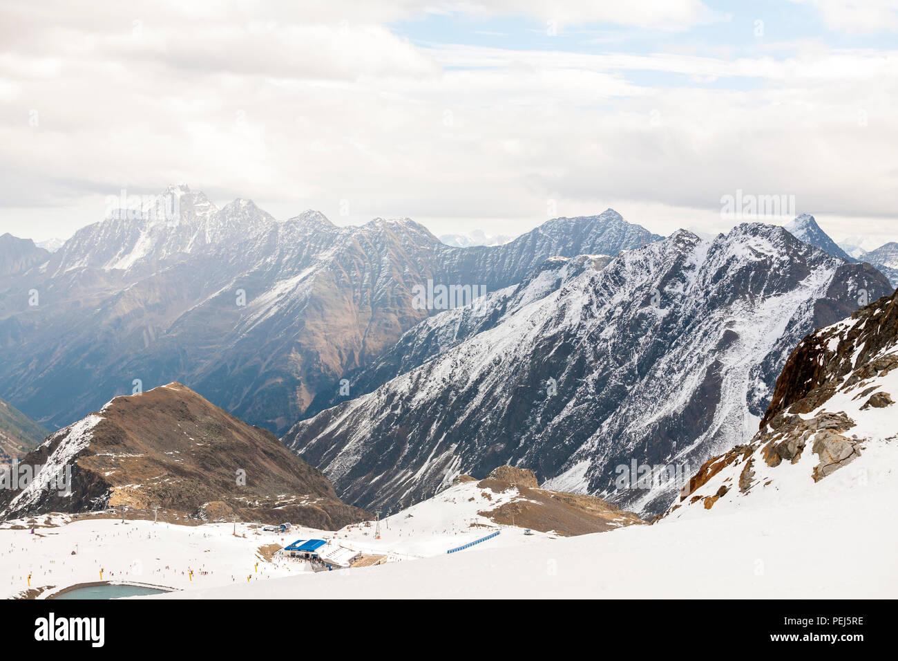 Ski resort in the Alps mountains, Austria, Stubai - Stock Image