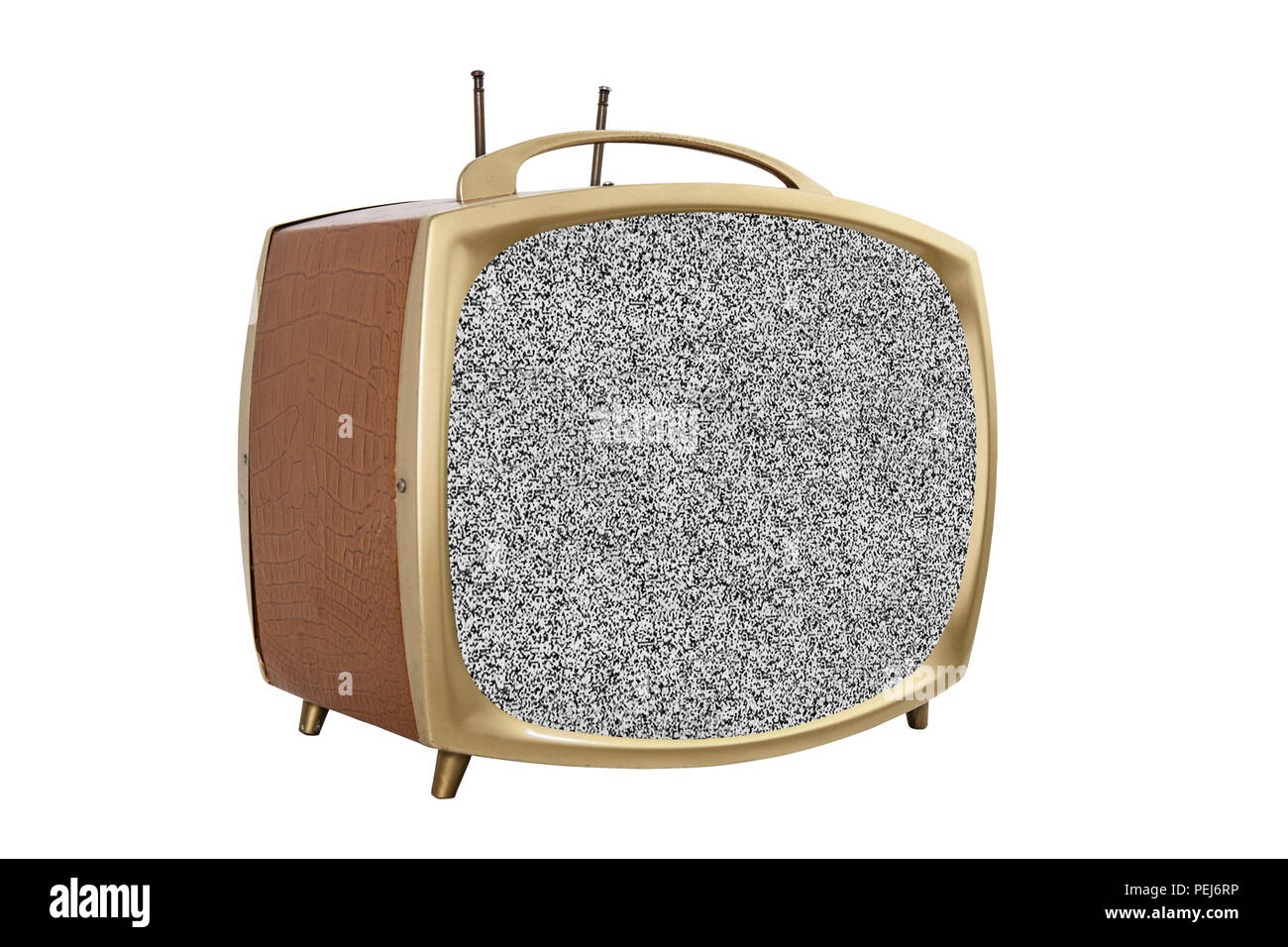 Retro 1950s portable television with static screen. - Stock Image