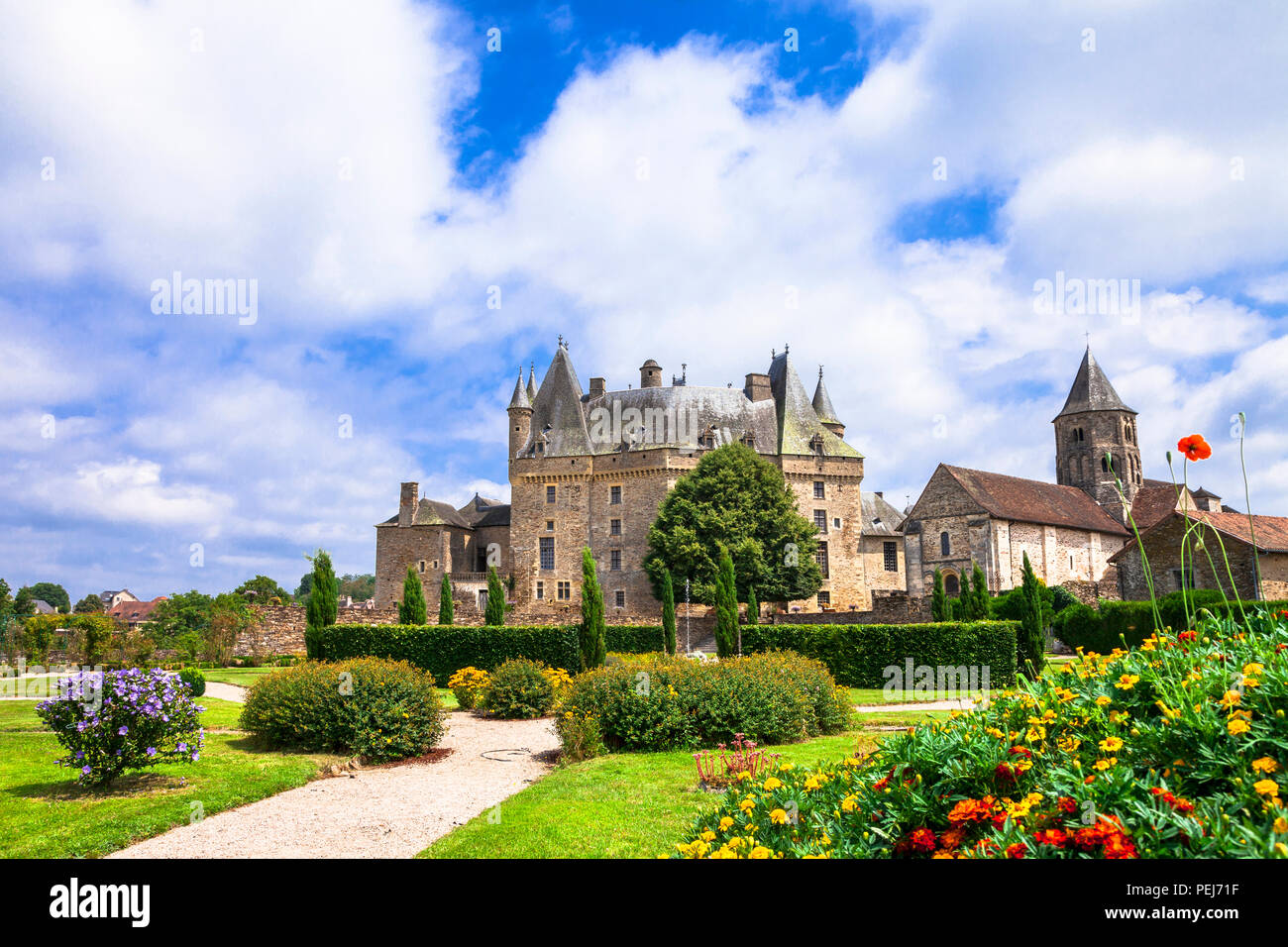 Elegant Jumilhac le grand medieval castle,France. - Stock Image