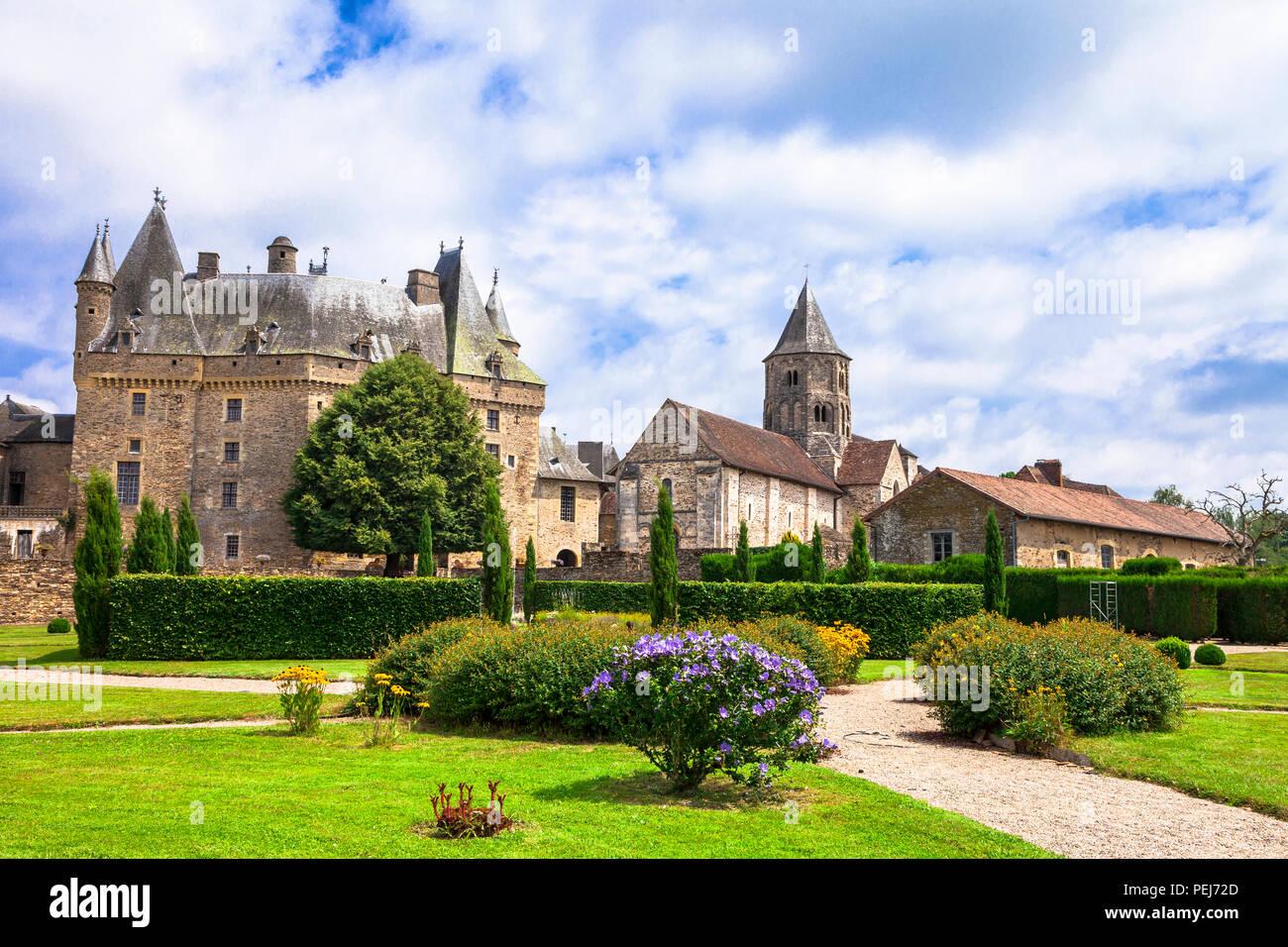 Beautiful Jumilhac le grand medieval castle,France. - Stock Image