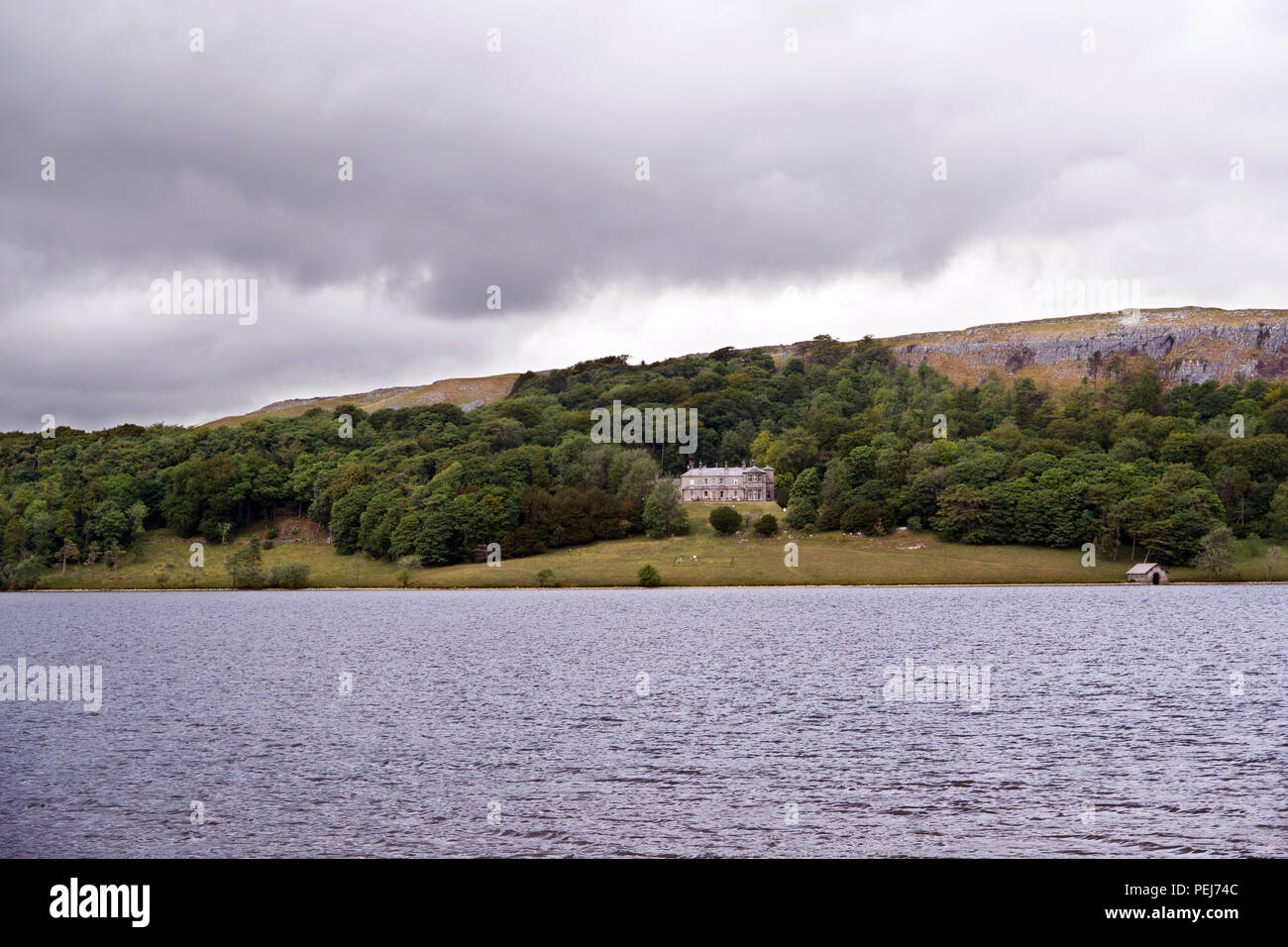 Malham Tarn is a glacial lake in the Yorkshire Dales. It is one of only eight upland alkaline lakes in Europe and is of major conservation interest. - Stock Image