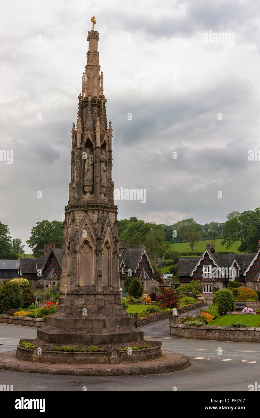 The Mary Watts Russell Memorial Cross, Ilam, Staffordshire - Stock Image