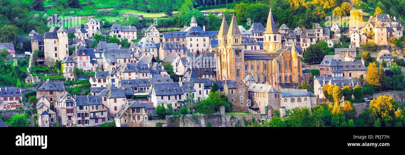 Impressive Conques village over sunset,Panoramic View,France - Stock Image