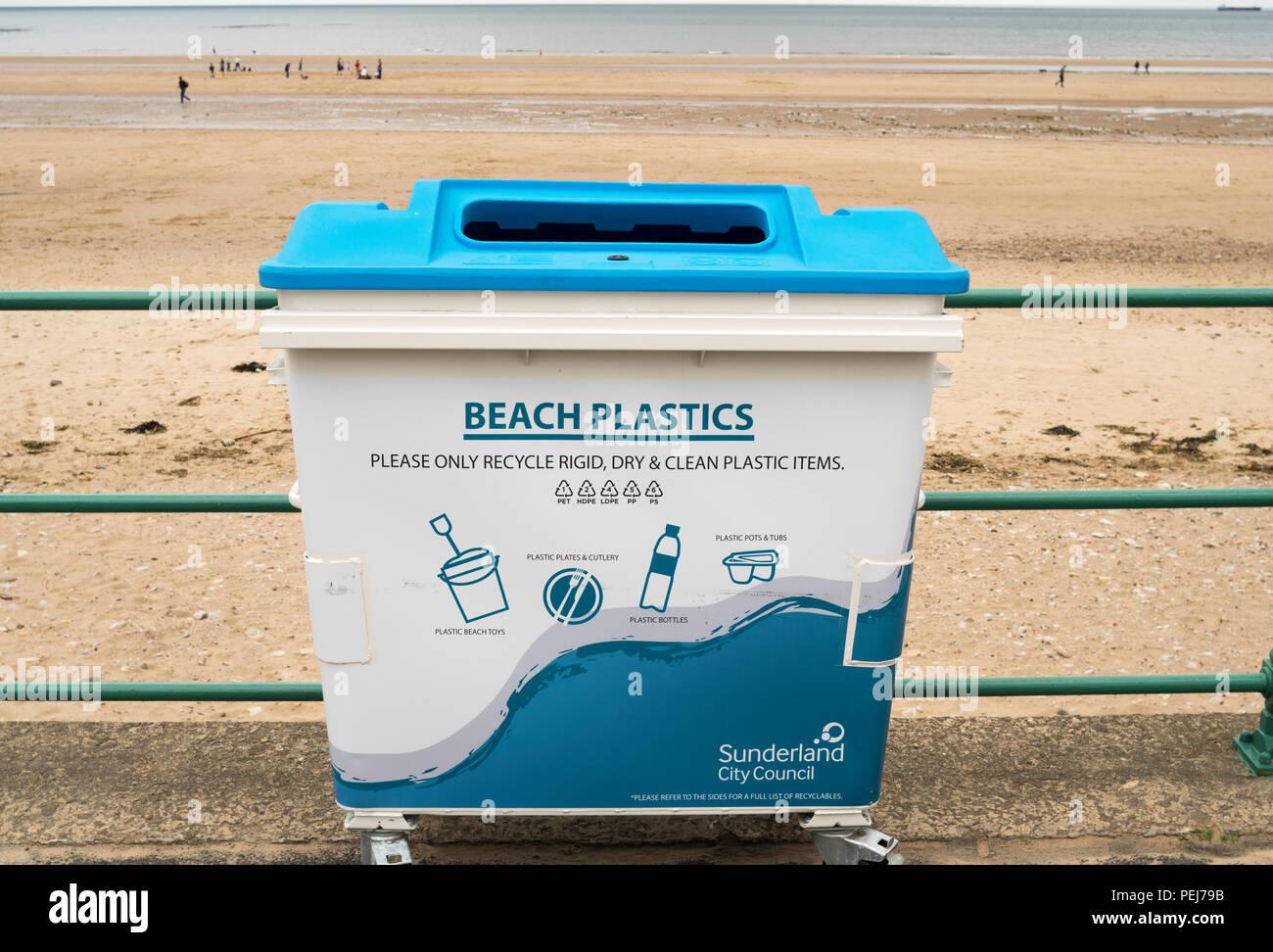A beach plastics recycling bin, Seaburn, Sunderland, England, UK - Stock Image