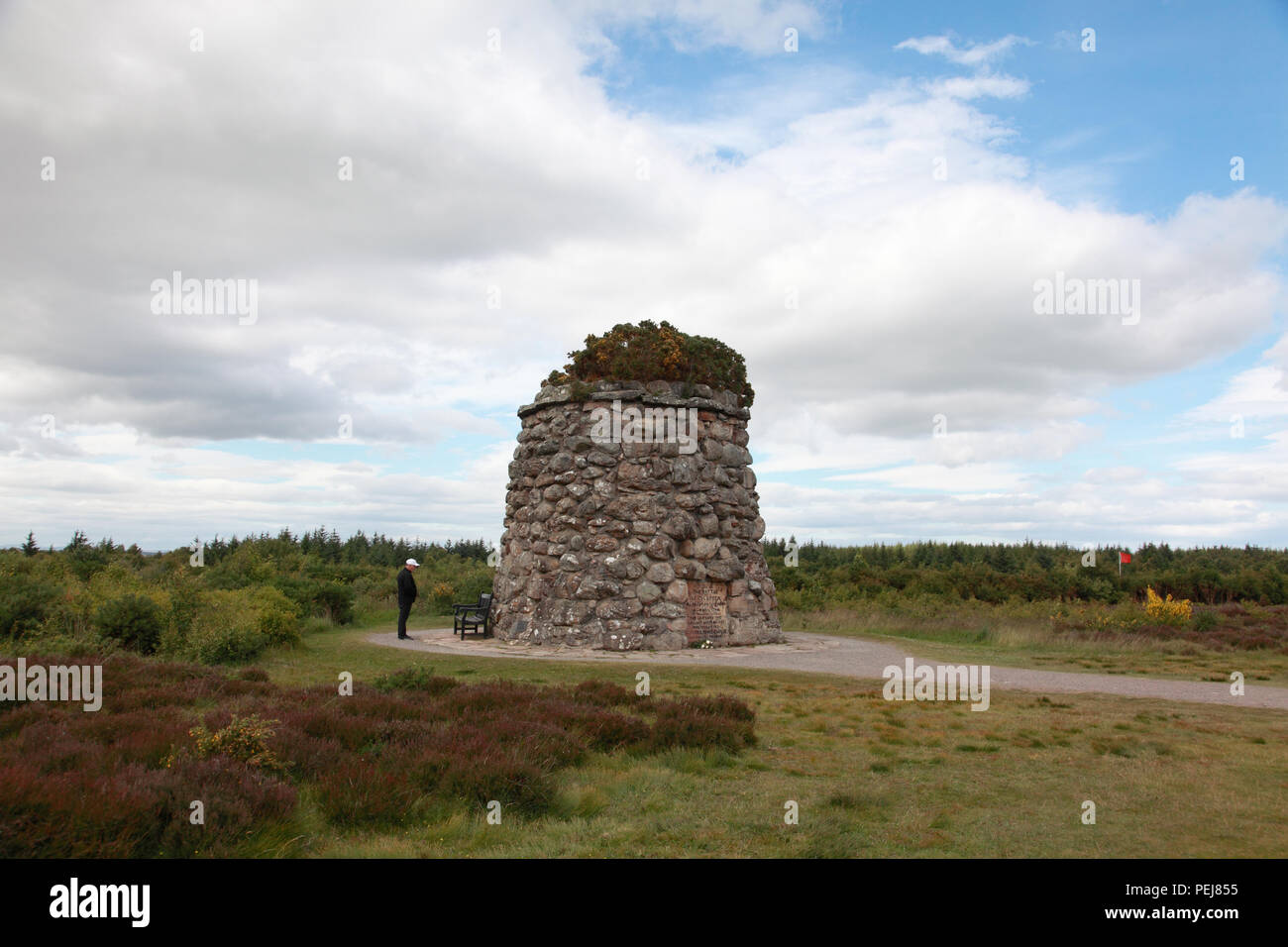 The memorial cairn at the site of the Battle of Culloden in April,1746 - Stock Image