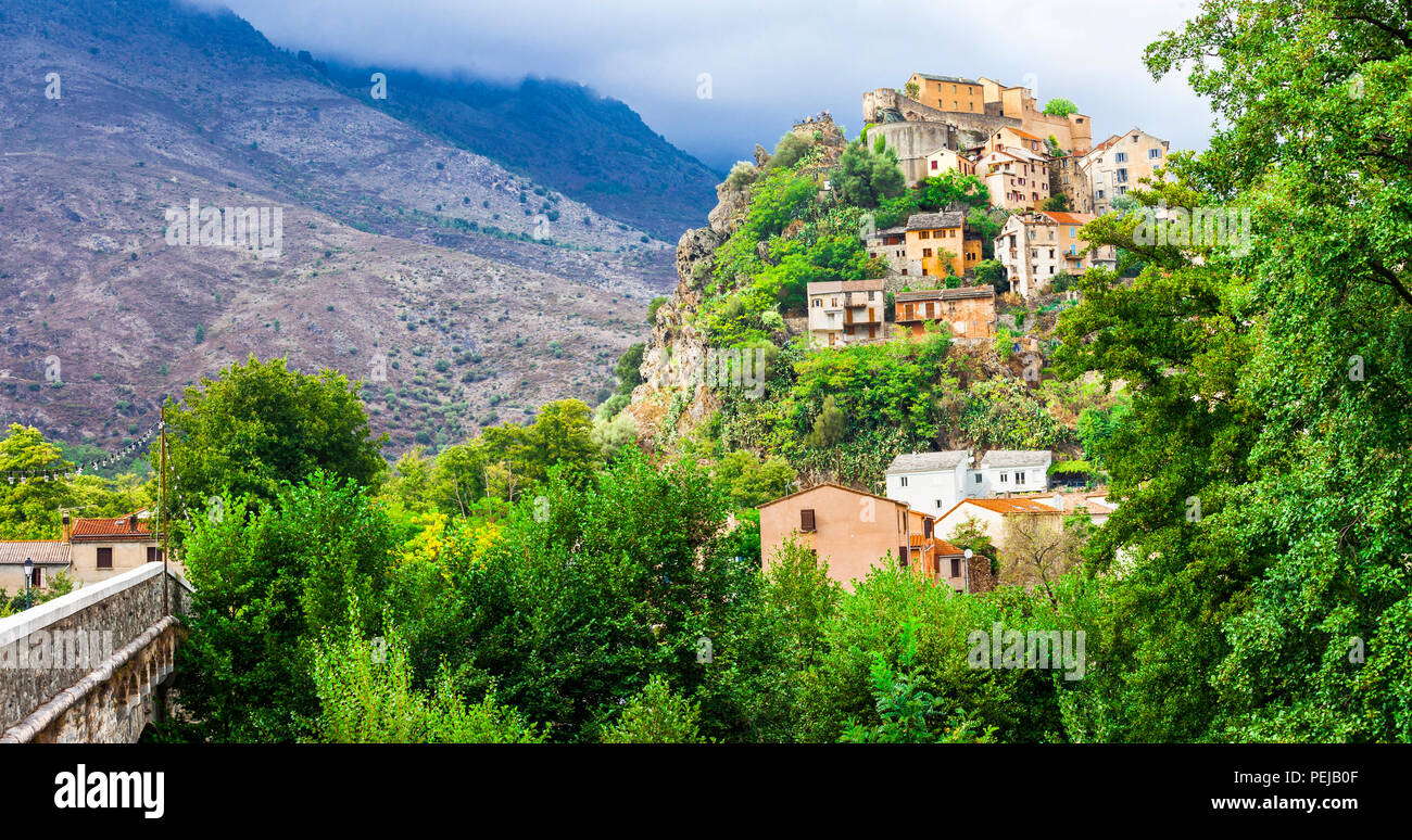 Impressive Corte village,view with castle and houses.Corse,France. - Stock Image