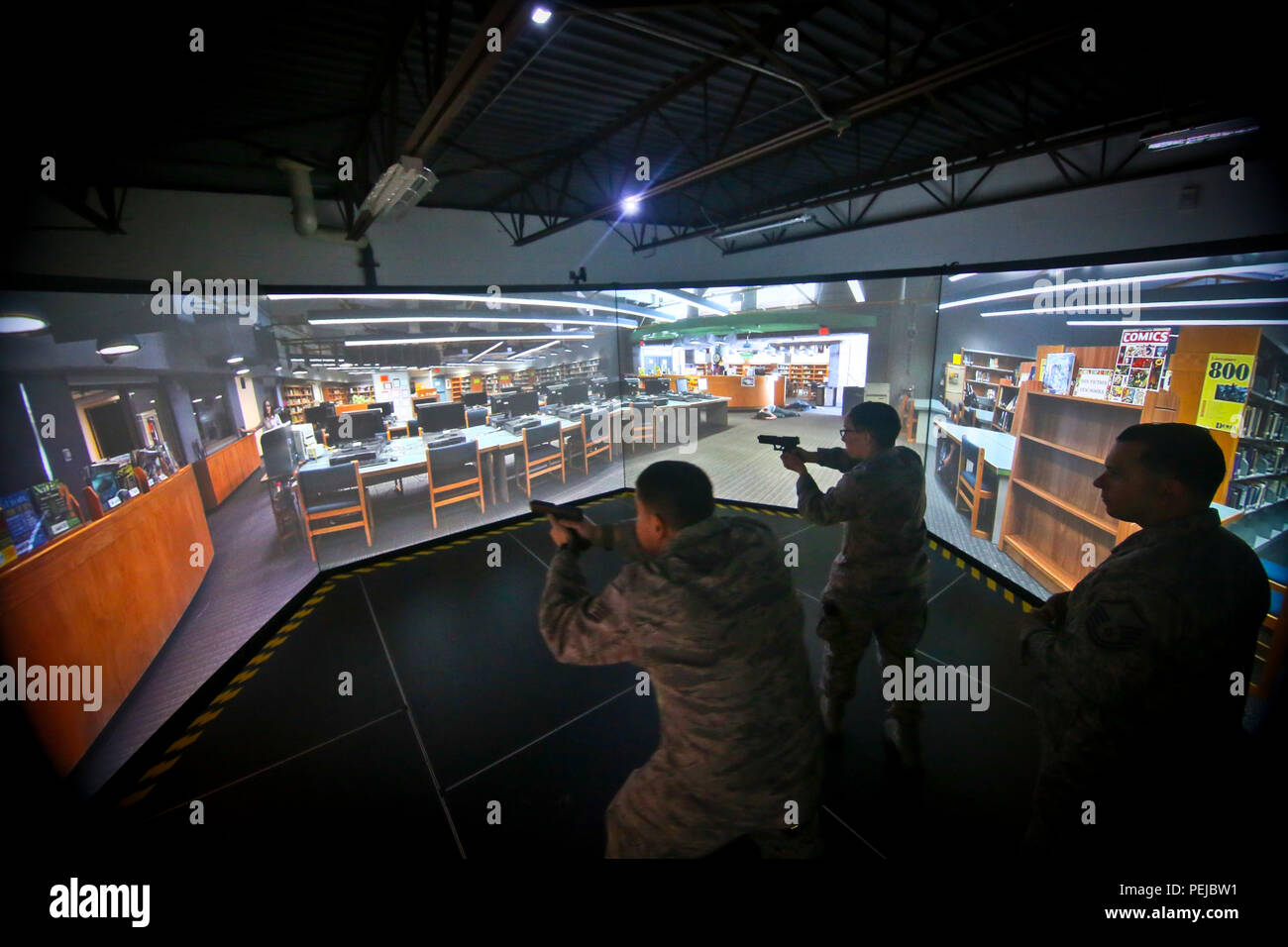 6 Shooter Stock Photos Images Alamy High Voltage Yard Training Simulator A Us Air Force Security Forces Airmen From The New Jersey National Guards 108th Wing