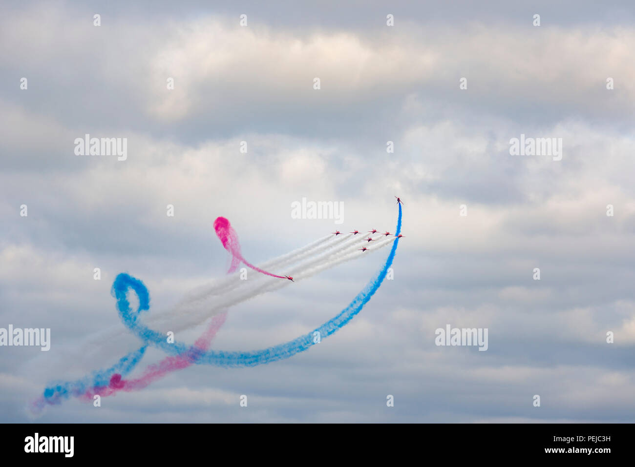The Red Arrows perfomred their only Cornish display of the season today with an acrobatic display that left waiting crowds in awe. - Stock Image