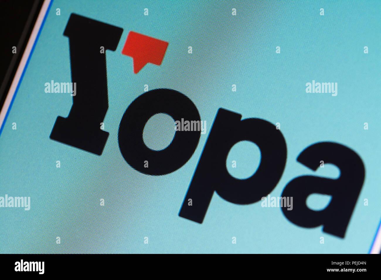 Yopa online estate agents website and logo - computer screenshot - Stock Image