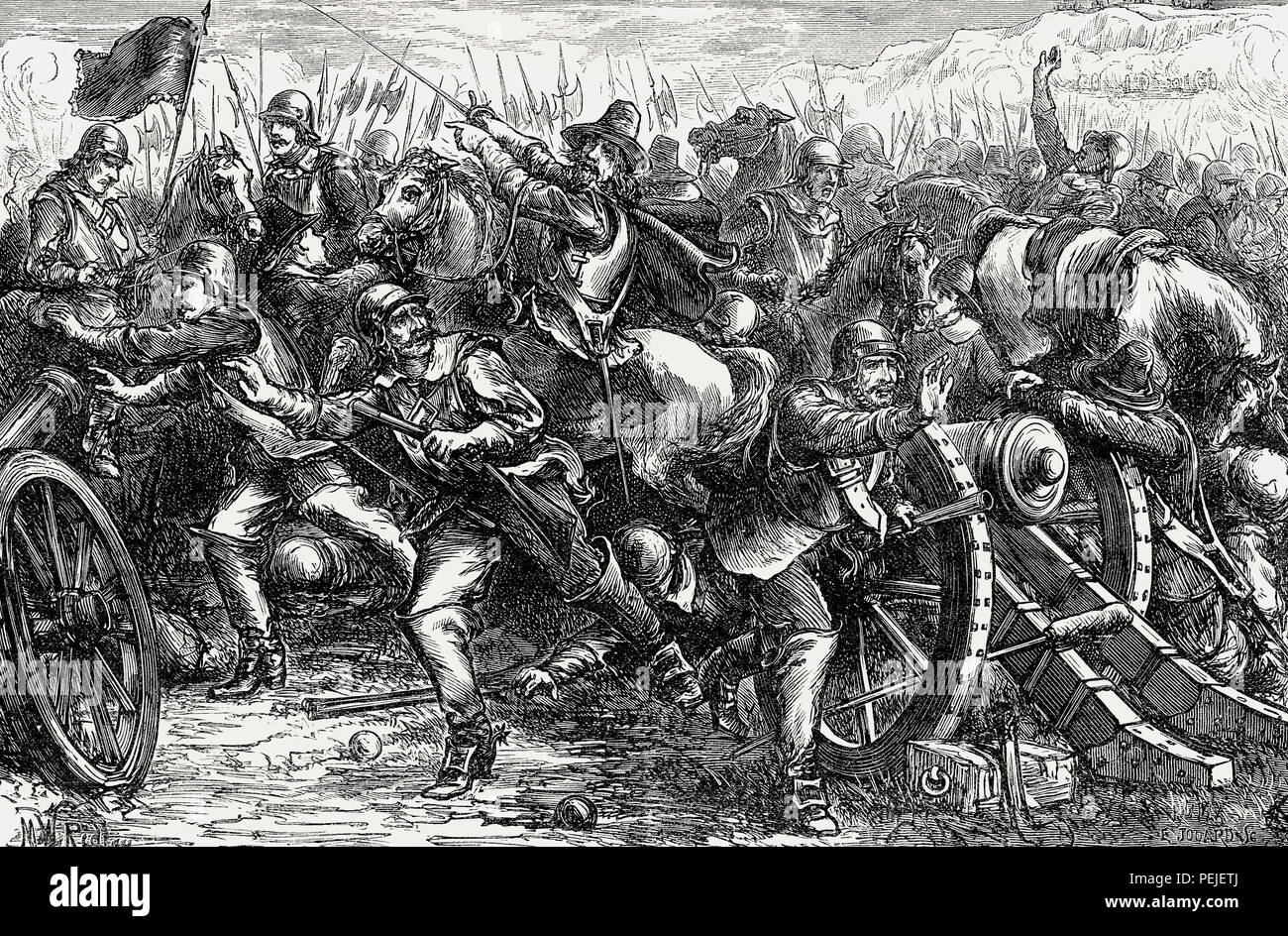 Attack on Leith, 1560, Siege of Leith, From British Battles on Land and Sea, by James Grant - Stock Image