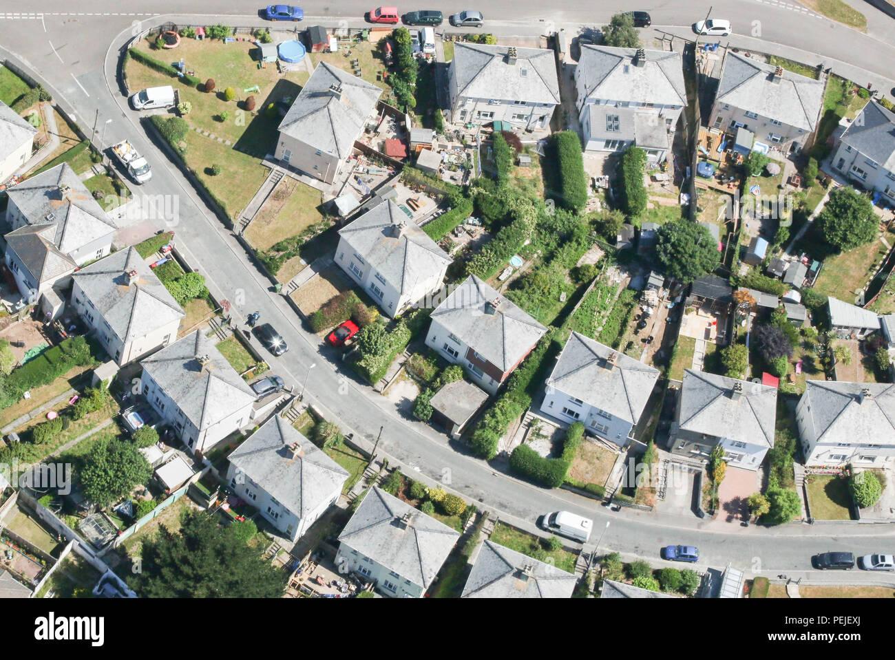 Aerial view of neighbourhood.  Cornwall UK. - Stock Image