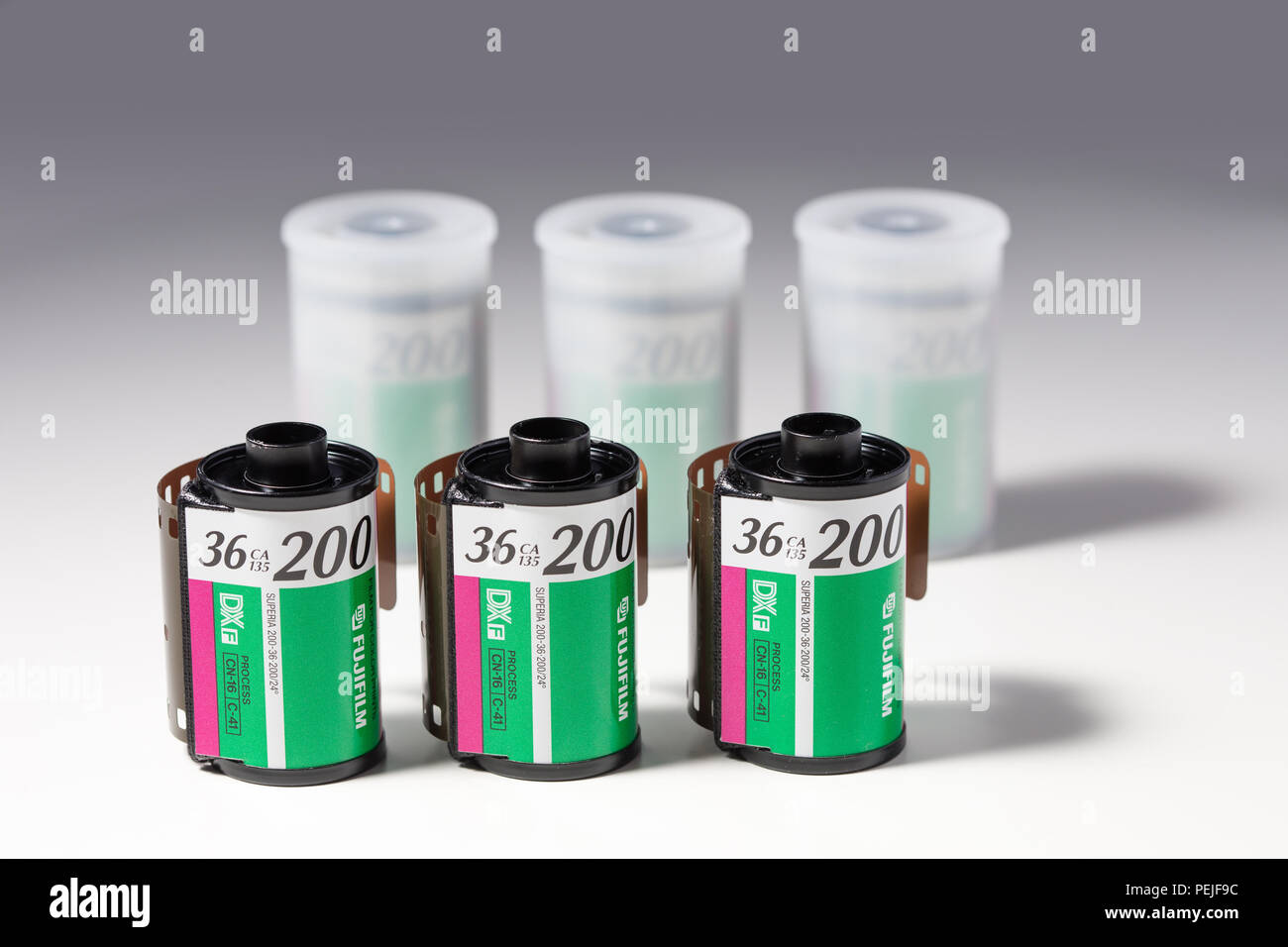 Rolls of Fujifilm Superia 200 35mm colour negative roll film in canisters - Stock Image