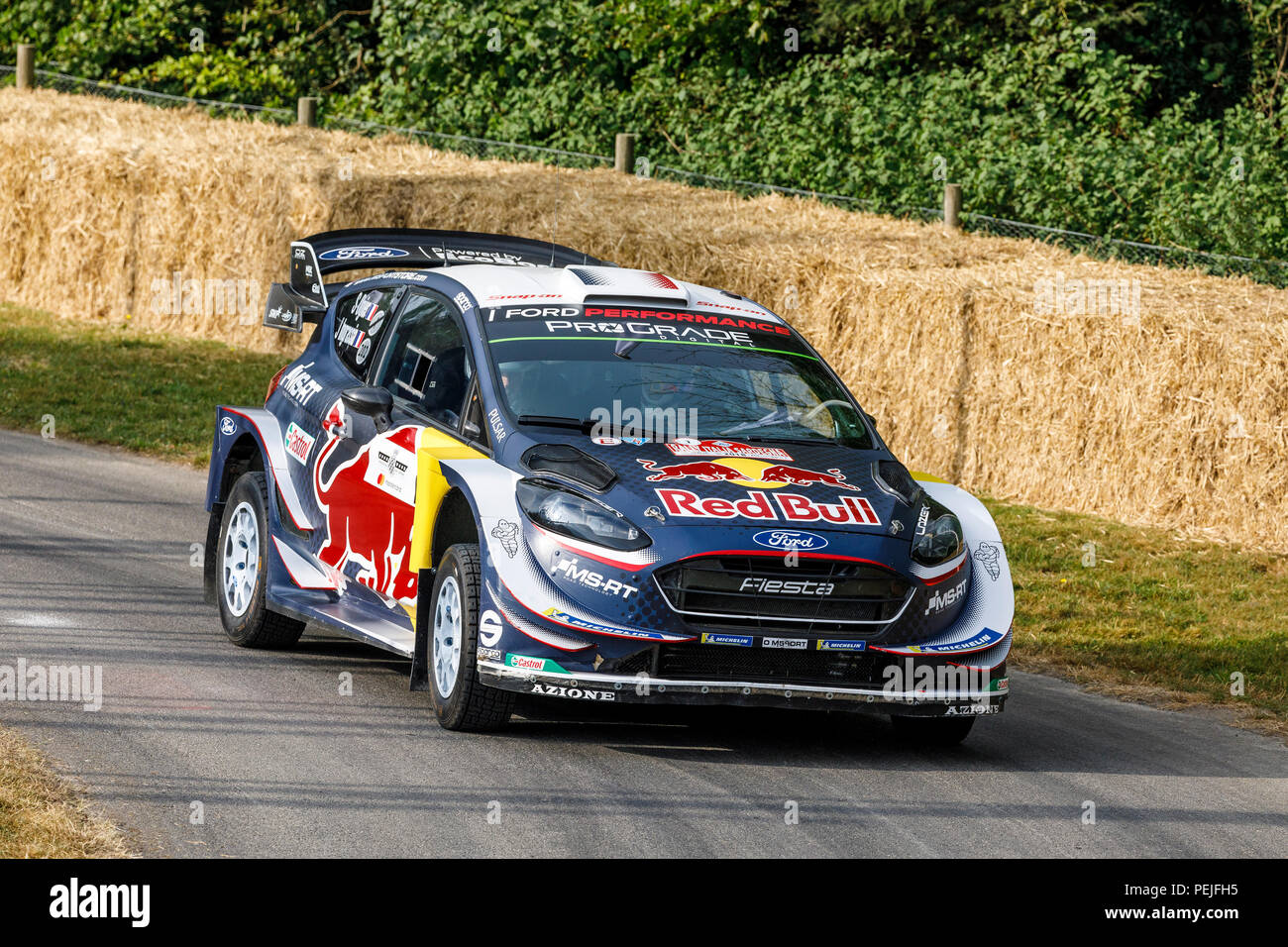 2018 Ford Fiesta Wrc Rally Car With Driver Sebastien Ogier At The