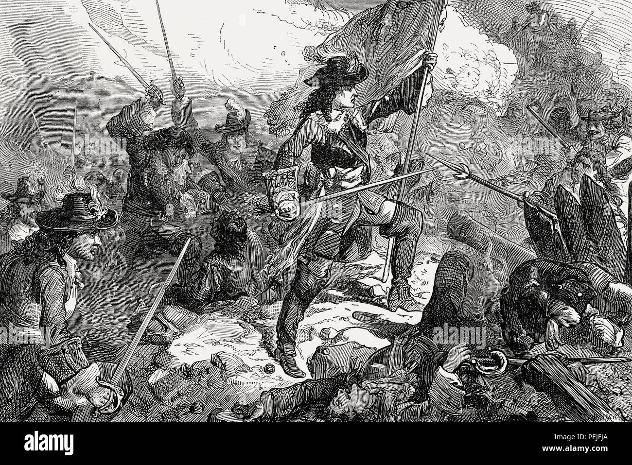 Captain John Churchill at the Siege of Maastricht, June 1673, From British Battles on Land and Sea, by James Grant - Stock Image
