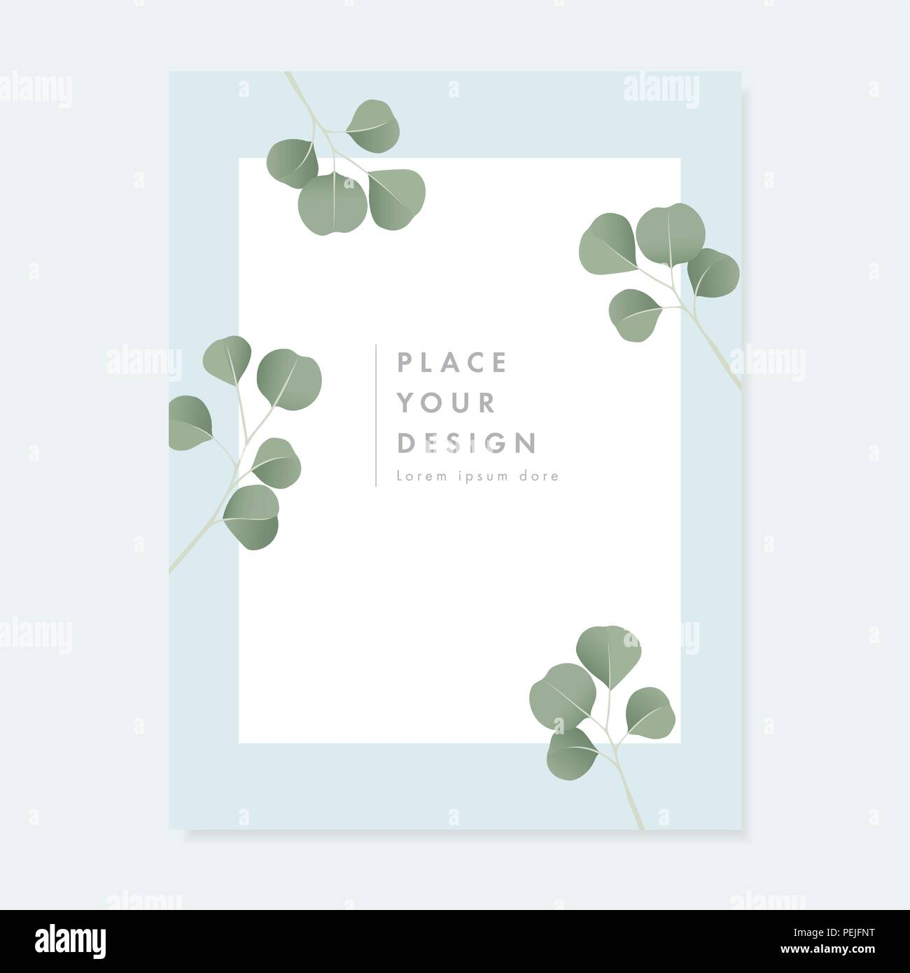 Floral Wedding Invitation Greeting Card With Green Silver Dollar