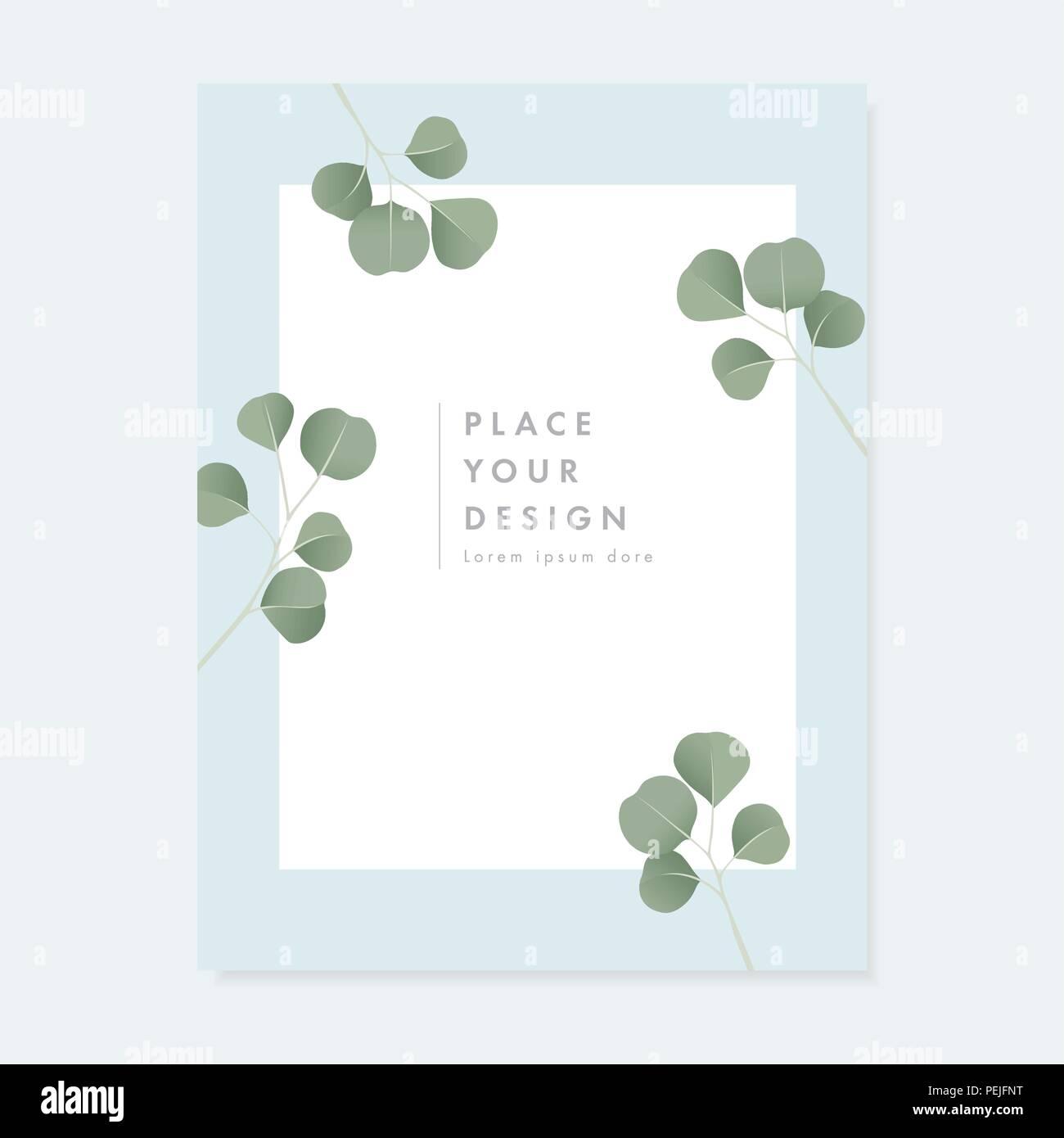 Floral Wedding Invitation Greeting Card With Green Silver Dollar
