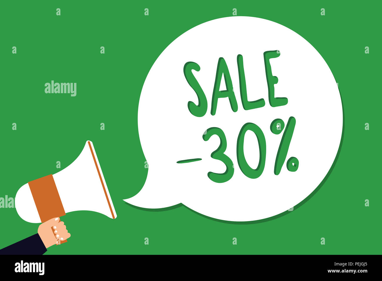 Conceptual hand writing showing Sale 30. Business photo showcasing A promo price of an item at 30 percent markdown Man holding megaphone loudspeaker s - Stock Image