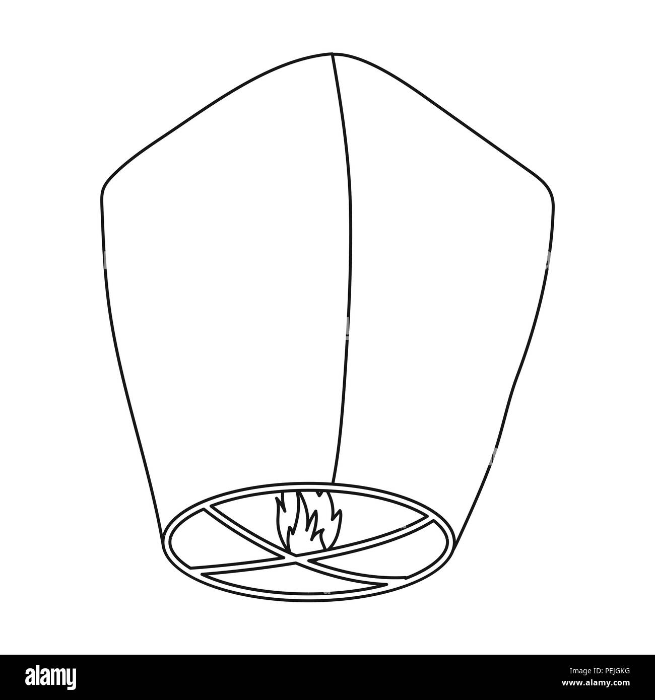 Sky Lantern Icon In Outline Style Isolated On White Background Light Source Symbol Vector Illustration Stock Vector Image Art Alamy