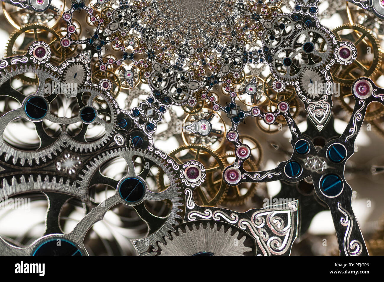 Kaleidoscopic Pattern of a Clockwork, based on own Reference Image - Stock Image