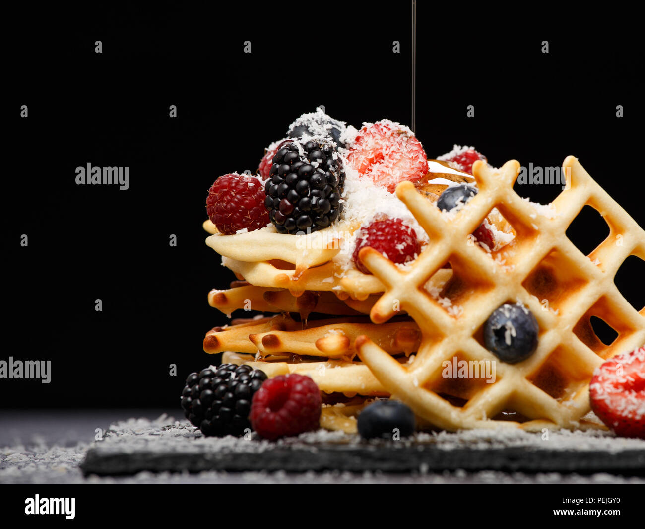 Photo of Belgian wafers with berries - Stock Image