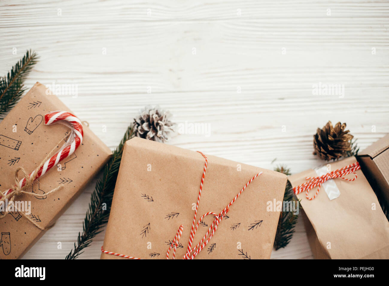 Stylish Simple Christmas Presents With Red Ribbon Candy