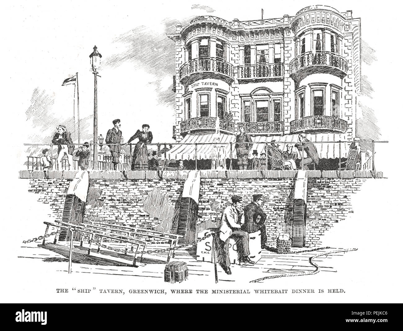The 'Ship' Tavern, Greenwich, London where the Ministerial Whitebait Dinner is Held, circa 1894 - Stock Image