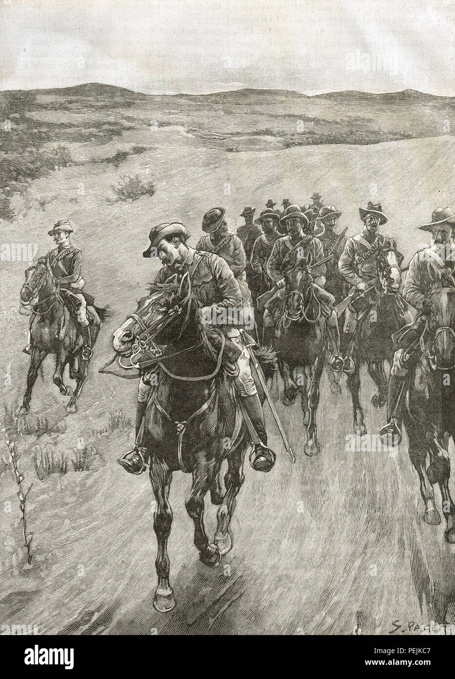 The Shangani Patrol, also known as Wilson's Patrol, in pursuit of the the Matabele King Lobengula, 1893, during the First Matabele War - Stock Image