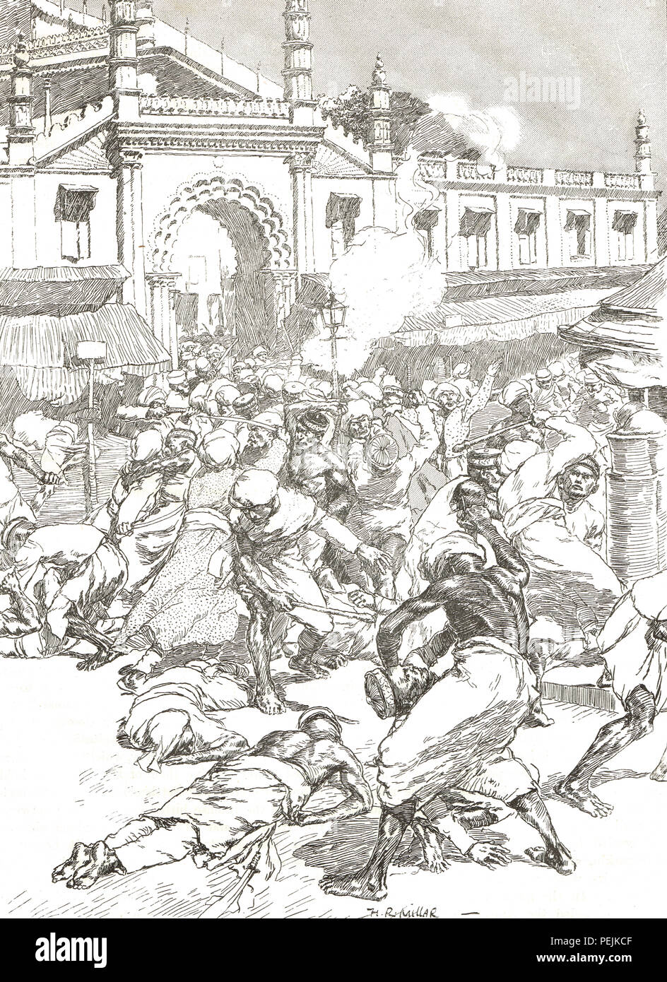Riots in in Bombay, present day Mumbai. Religious faction fights between Muslims and Hindus, August 11-15 1893 - Stock Image
