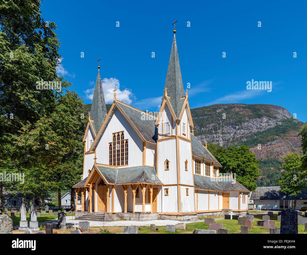 The 19th century Hauge Church (Hauge kyrkje), Lærdal (Lærdalsøyri), Sogn og Fjordane, Norway - Stock Image