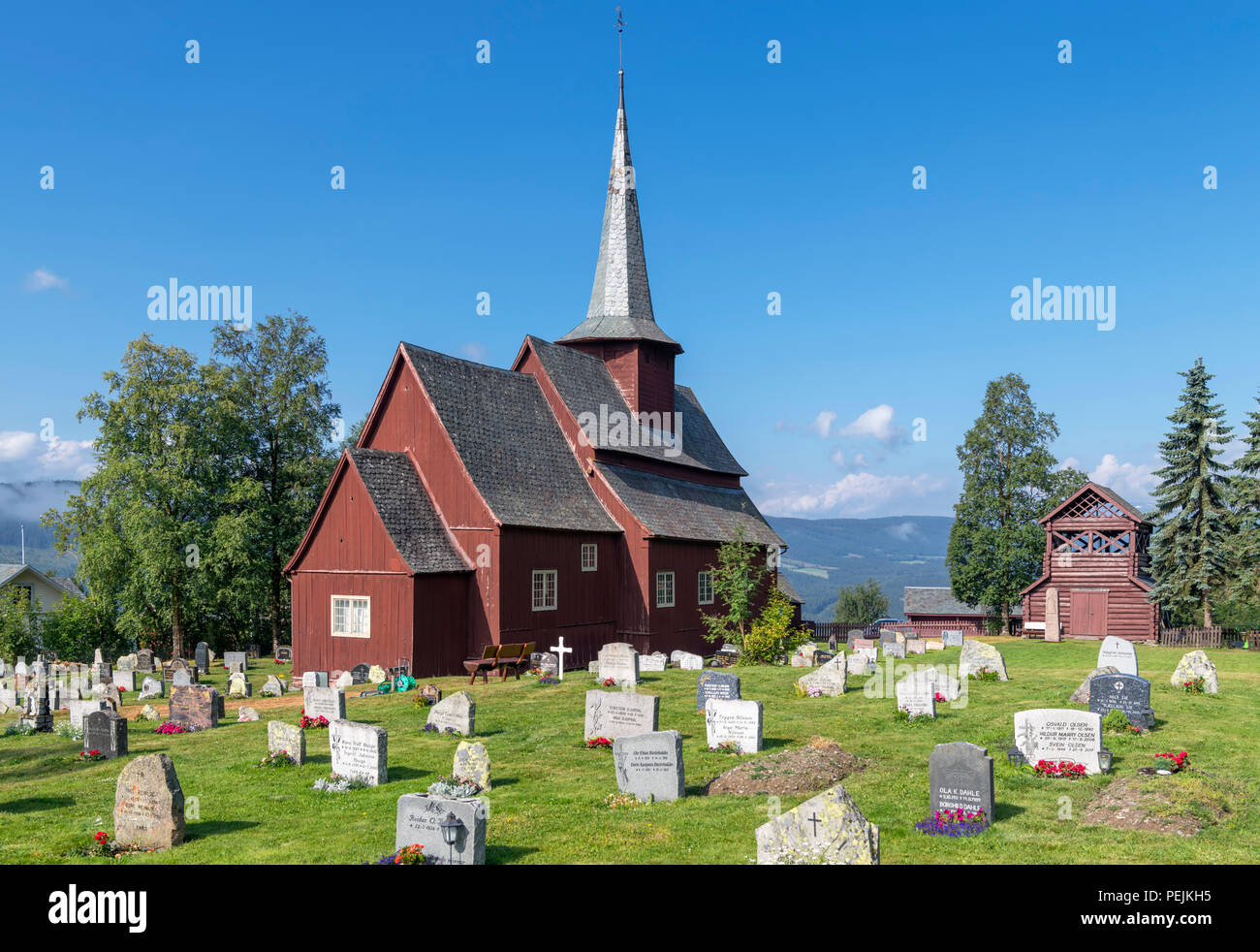 Norway, Stave Churches. The medieval Hegge Stave Church (Hegge stavkyrkje), Hegge, Oppland, Norway - Stock Image