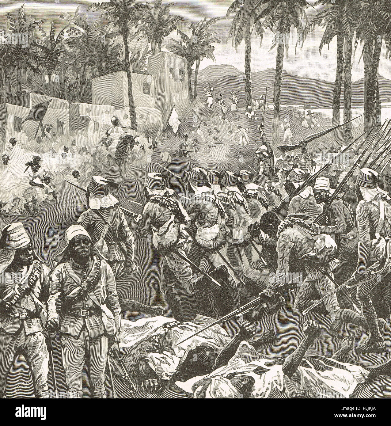 Anglo-Egyptian troops storming Firket (or Ferkeh ), The Battle of Ferkeh (or Firket), during the Mahdist War.  A Mahdist Sudanese army wiped out by forces under Sir Herbert Kitchener on 7 June 1896 - Stock Image