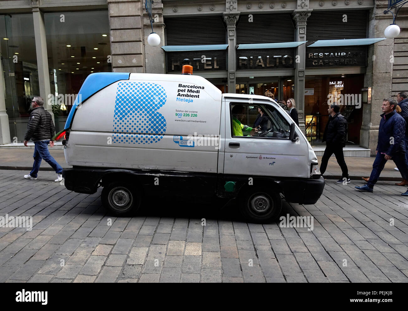 Barcelona Municipal Government Small Maintenance Van Electric Vehicle In The Old Quarter Of Barcelona Gothic Quarter - Stock Image
