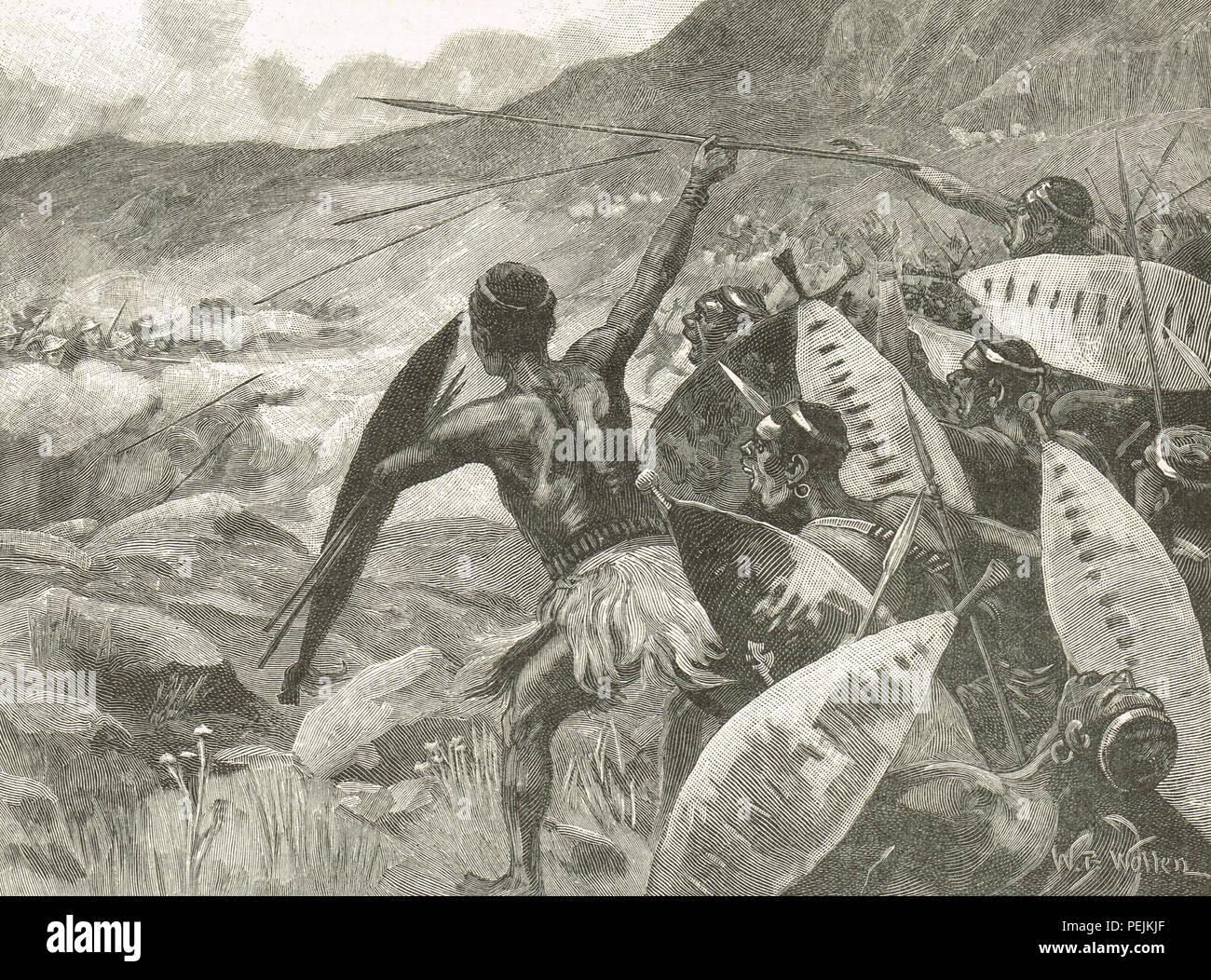 Fighting in the Matappo hills, a charge of Matabele warriors, during The Second Matabele War 1896 to 1897.  Also known as the Matabeleland Rebellion, and known in Zimbabwe as the First Chimurenga - Stock Image