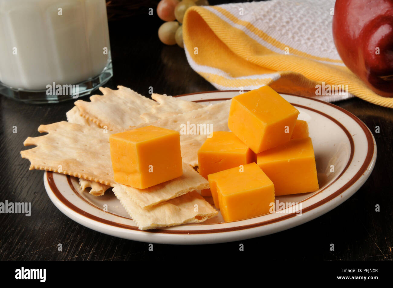 Gourmet flatbread crackers with aged cheddar cheese, an