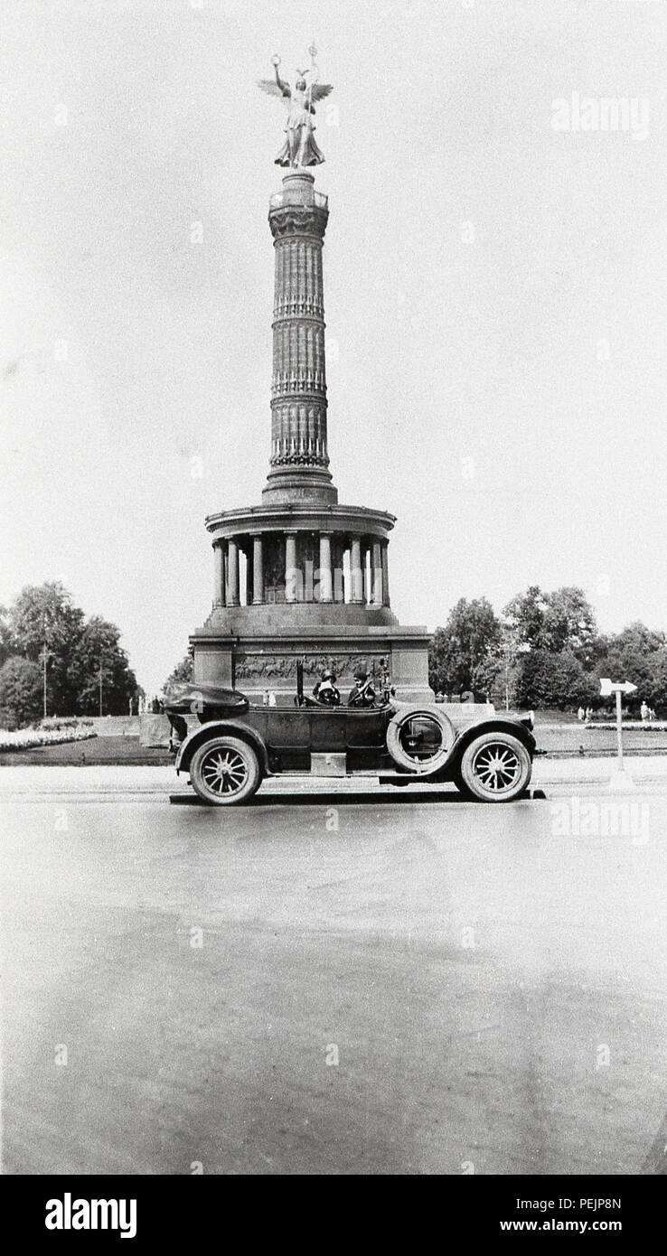 Germany Berlin The Victory Column is a monument in Berlin, Germany. Designed by Heinrich Strack, after 1864 to commemorate the Prussian victory in the Danish-Prussian War  A Pierce Arrow car in front of monument taken 1928  1920s Stock Photo