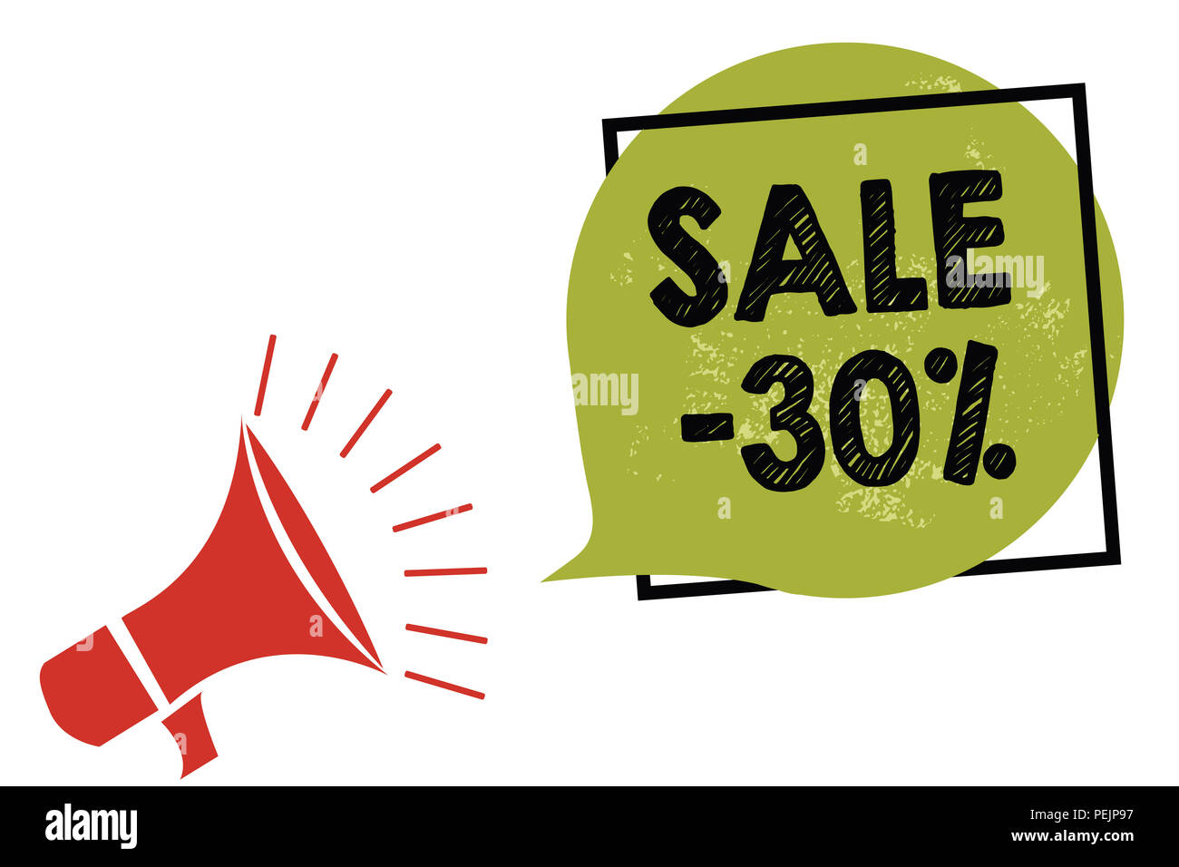 Text sign showing Sale 30. Conceptual photo A promo price of an item at 30 percent markdown Megaphone loudspeaker speaking loud screaming frame green  - Stock Image