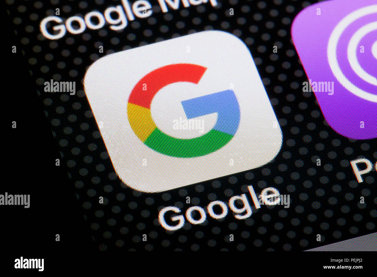 Google app icon on iPhone screen - USA - Stock Image